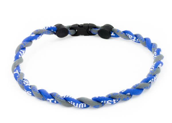"LARGE 24/"" 3 Rope Twist Titanium Sport Necklace Light Blue White Tornado Baseball"